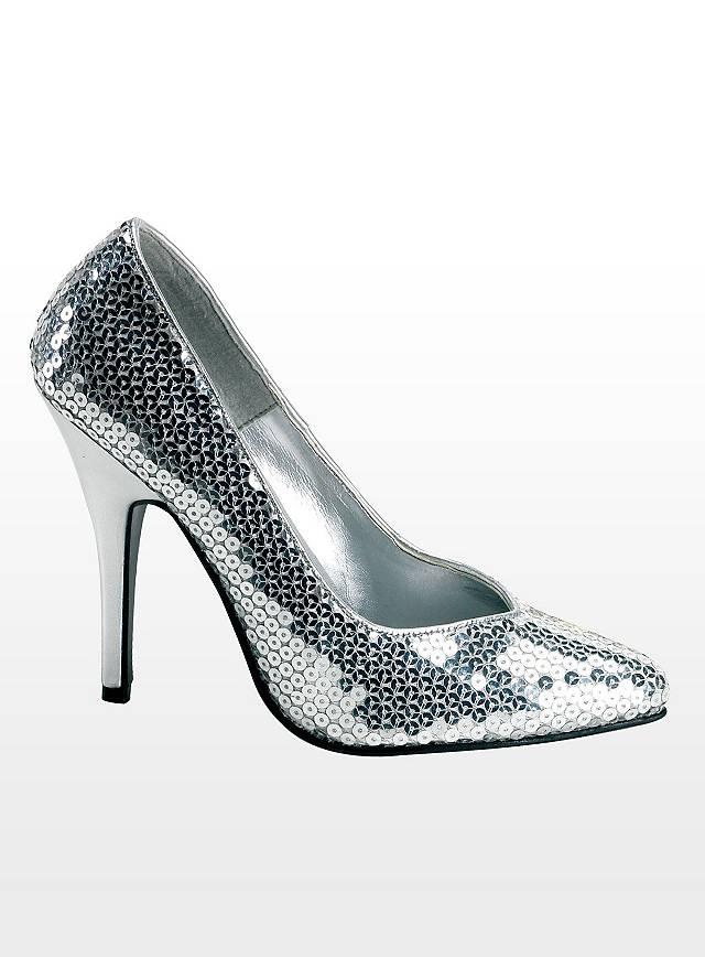 pailletten schuhe silber pumps 11cm absatz schuhe schlager karneval high heels ebay. Black Bedroom Furniture Sets. Home Design Ideas