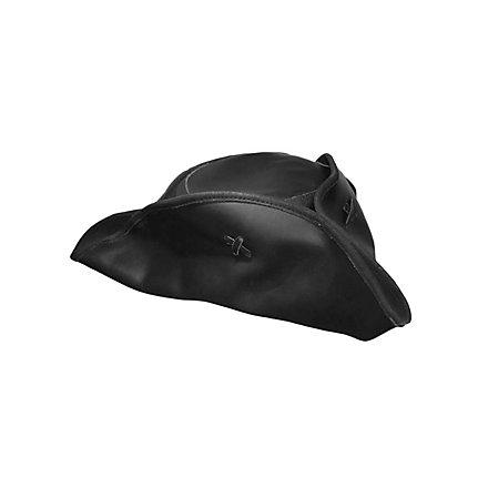 Black leather tri corner pirate hat