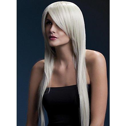 Lange Straight Cut Perücke blond, Seitenscheitel