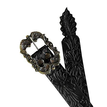 Ledergürtel Blumenornament schwarz