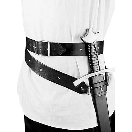 Medieval double wrap sword belt black