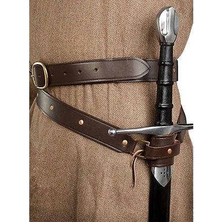 Medieval double wrap sword belt brown