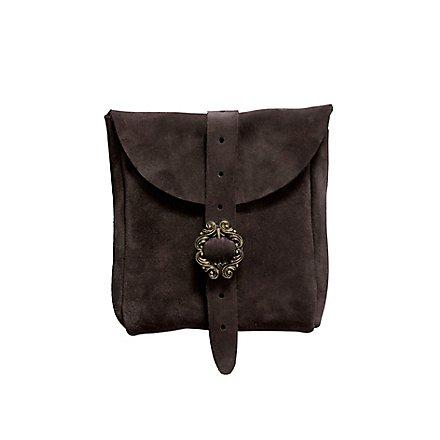 Petite sacoche de ceinture en daim marron foncé