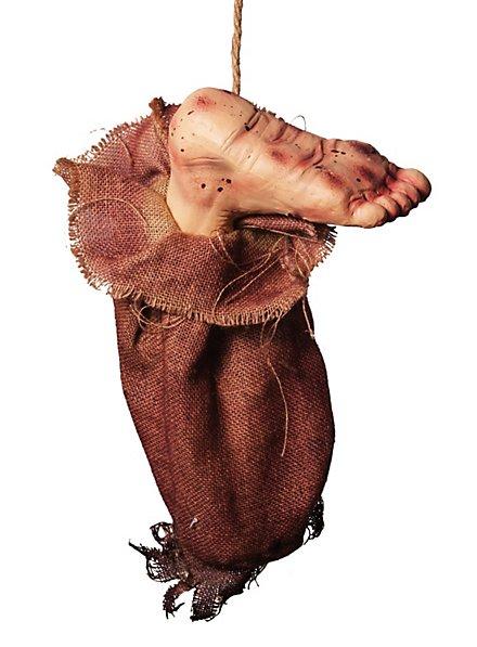 Blutiger Fuß im Sack Halloween Deko