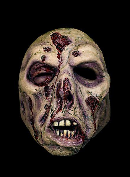 Modriger Zombie Halbmaske aus Latex