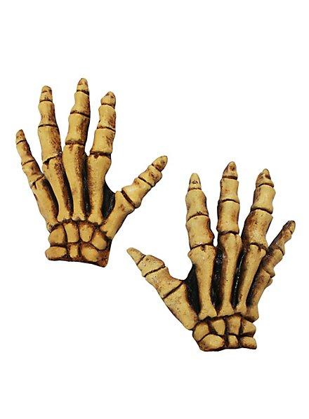 Skeletthände gelb kurz aus Latex
