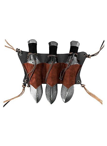 /Étui pour ceinture en cuir GN pour 3/couteux de lancer noir ou brun Moyen-/Âge Viking
