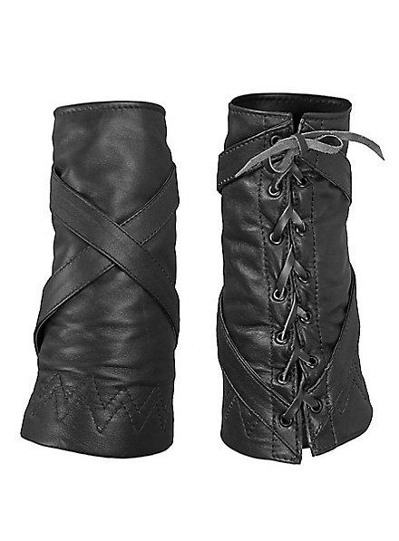 Weiche Lederarmschienen mit Kreuzriemen schwarz