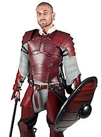 Armure de mercenaire en cuir rouge