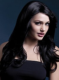 Beach Waves wig black, side parting