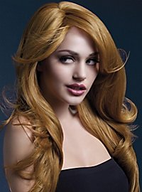 Beach Waves wig copper, side parting