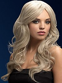 Beach Waves wig white blond, side parting