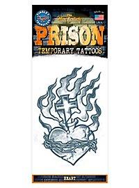 Brennendes Herz Klebe-Tattoo