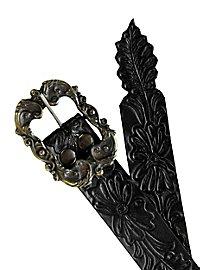 Ceinture en cuir noir à motifs floraux