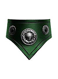 Collier en cuir vert avec ornements argentés