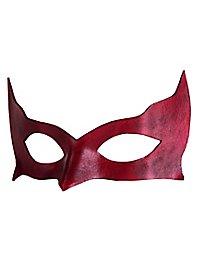 Masque vénitien en cuir Colombina Incognito rouge