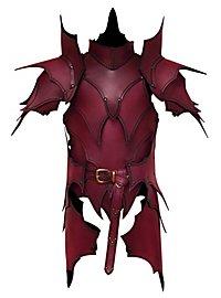 Lederrüstung mit Schultern und Beintaschen - Dunkelelf rot