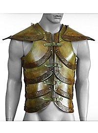 Lederrüstung mit Schultern - Elfenharnisch, dunkelgrün
