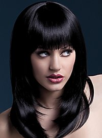 Feather cut with pony wig black