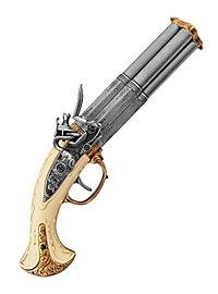 Four-barrel flintlock pistol deco gun