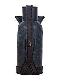 Gourde avec étui en cuir (noir)