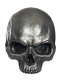 Halbierter Dekoschädel aus Gießharz, metallfarben