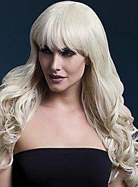 Lange Soft Curls Perücke mit Scheitel hellblond
