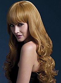 Lange Soft Curls Perücke mit Scheitel kupfer