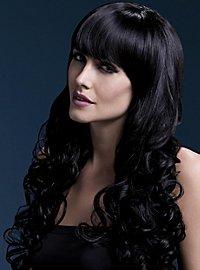 Lange Soft Curls Perücke mit Scheitel schwarz