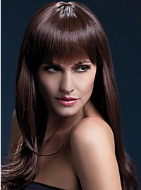 Long feather cut with pony wig brown