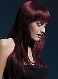 Long feather cut with pony wig cherry