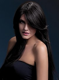 Long Straight Cut wig dark brown, side parting