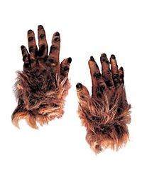Mains de monstre poilues marron en latex