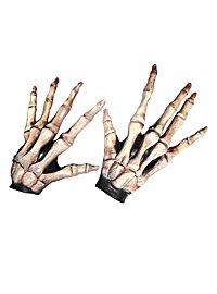 Mains de squelette à longs doigts couleur os en latex
