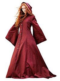 Manteau à capuche médiéval bordeaux