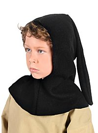 Medieval Chaperon black for Kids