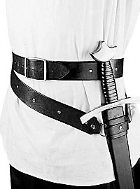 Medieval double wrap sword belt black