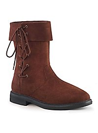 Men's leatherette boots with lacing brown