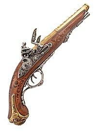 Pistolet à platine à silex à double barillet