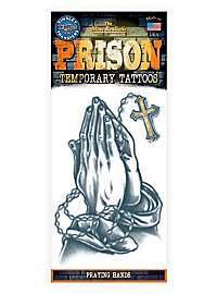 Praying Hands Temporary Prison Tattoo
