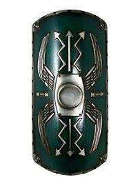 Römischer Schild Scutum Deluxe grün Polsterwaffe