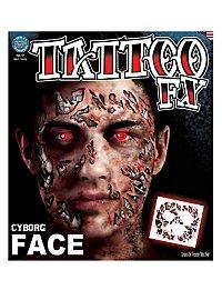 Tatouage décalcomanie visage cyborg