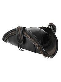 Tricorne en cuir noir
