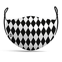 Stoffmaske Harlekin schwarz-weiß