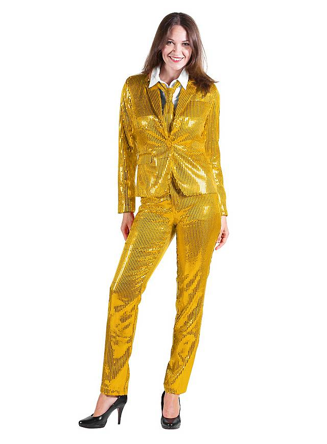 goldener pailletten anzug f r damen jetzt kaufen. Black Bedroom Furniture Sets. Home Design Ideas