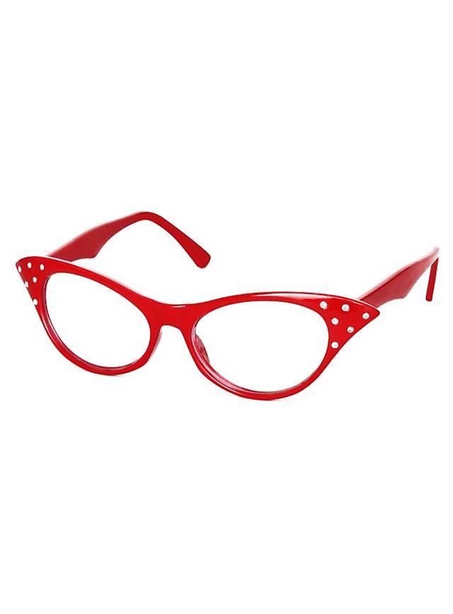 50er Brille rot