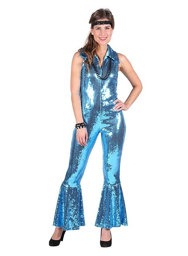 neue sorten Brandneu Einkaufen 70er Jahre Pailletten Jumpsuit blau