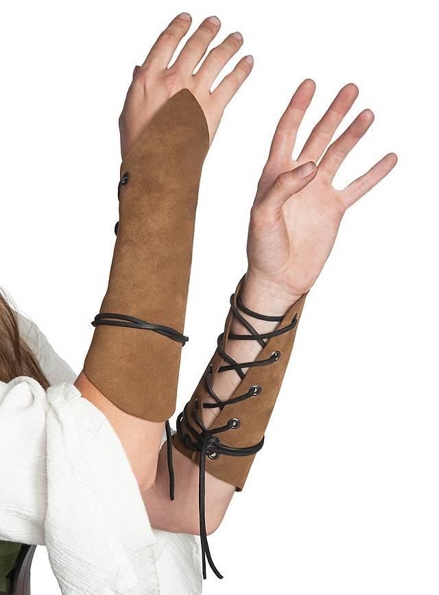 Armstulpen aus Veloursleder hellbraun