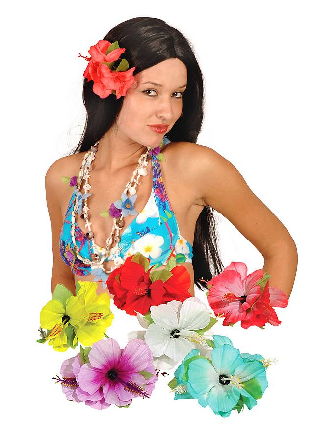 Barrette exotique Hawaï blanche