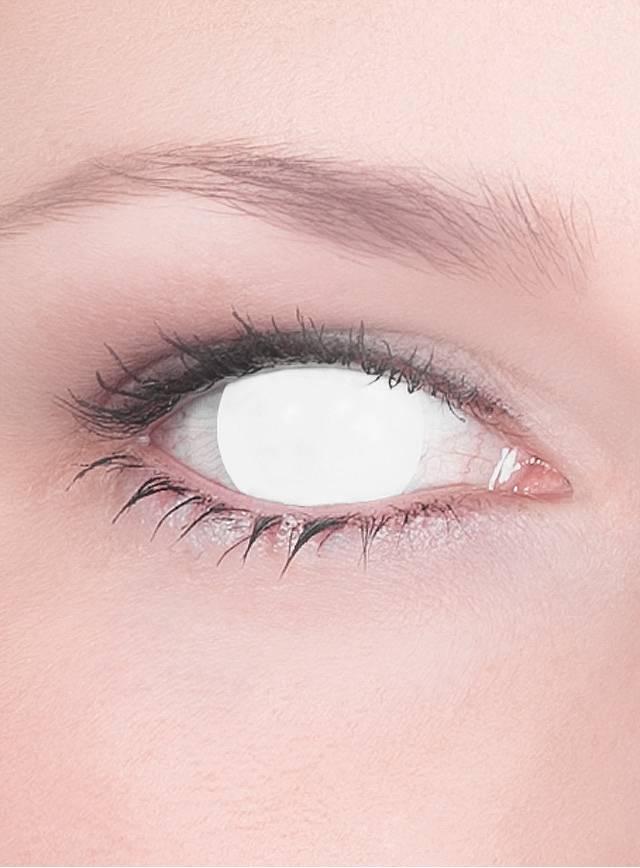 Weiße Kontaktlinsen ohne Pupille